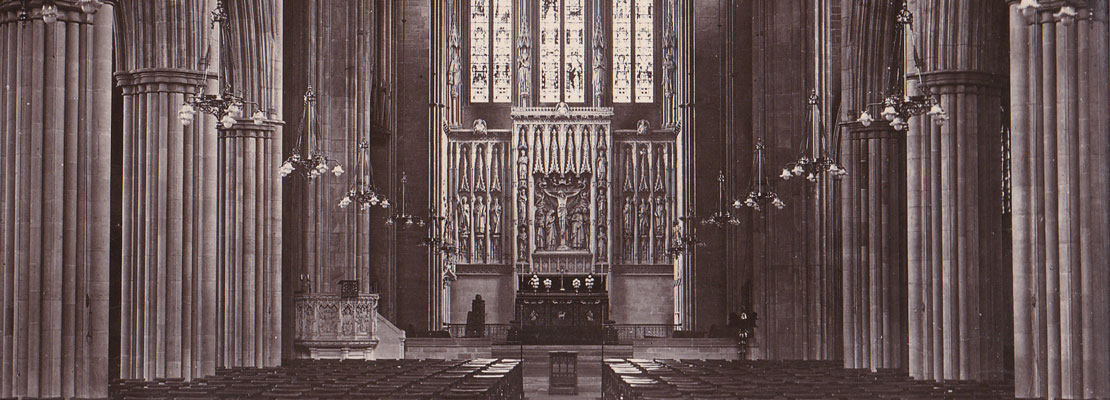Historical view down the nave at All Saints Hove following completion of the reredos and east end