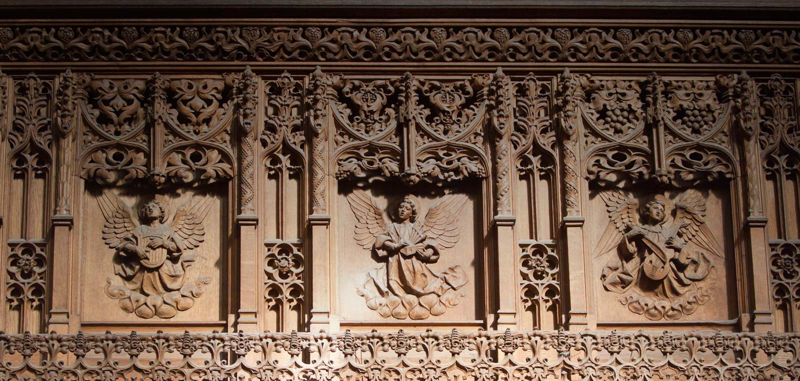 Detail of the carved wooden screen to the Holy Spirit Chapel