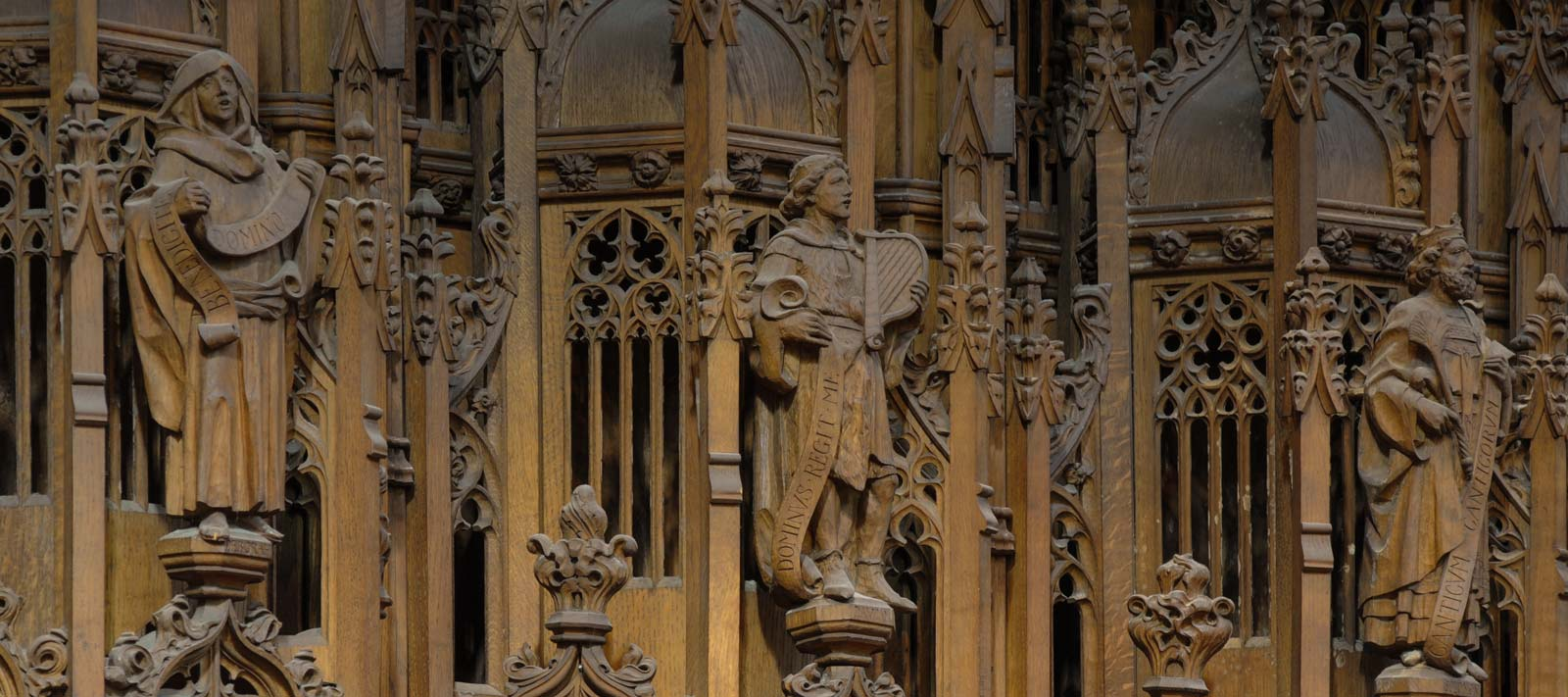 Carved figures on the wooden chapel screen