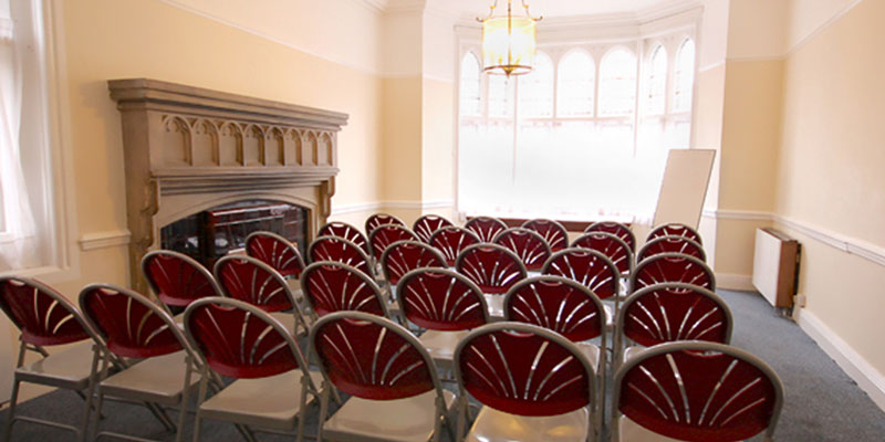 The Parish Room at All Saints Hove, shown here with chairs set up for a community meeting